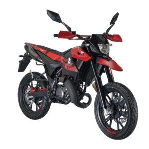 produktbild malaguti röd och svart moped