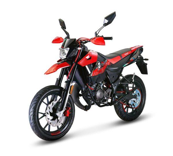 moped Malaguti röd supermotard produktbild